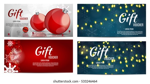 Christmas and New Year Gift Voucher, Discount Coupon Template Collection Set Vector Illustration EPS10