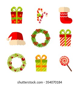 Christmas and New Year gifts and wreaths, vector flat design