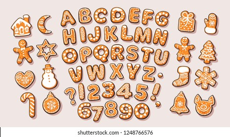 Christmas and New Year gingerbread alphabet and cute traditional holiday cookies. Sugar coated letters and numbers. Cartoon hand drawn isolated vector illustration.