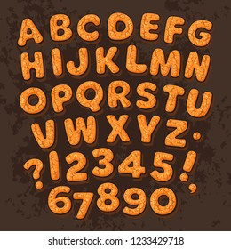 Christmas, New Year gingerbread cookies alphabet isolated on dark chocolate background. Cartoon letters and numbers. Hand drawn vector. Greeting card poster, invitation, banner, flyer template design.