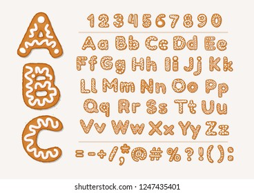 Christmas or New Year gingerbread cookies alphabet with arabic numbers and signs. Set of isolated alphabet, cookie figures, covered icing-sugar on white background. Full English ABC.