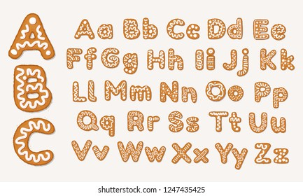 Christmas or New Year gingerbread cookies alphabet, capital letters and lower case alphabet. Set of isolated alphabet covered icing-sugar and syrup. Full English ABC. Vector cartoon illustration