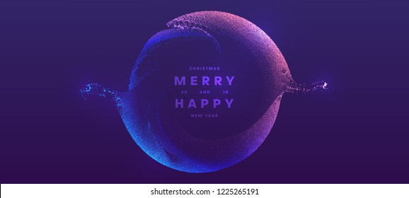 Christmas and New Year glowing particles liquid dynamic flow. Holiday trendy fluid cover design. Eps10 vector illustration for posters, placards, banners, flyers and brochures