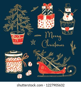 Christmas and New Year golden collection with Christmas present, snowman, candy and tree. Vector hand drawn illustration