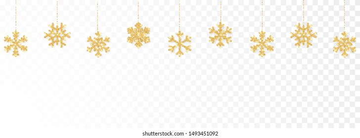 Christmas or New Year golden decoration on transparent background. Hanging glitter snowflake. Vector illustration.