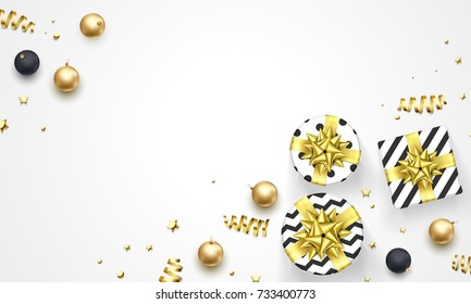 Christmas or New Year golden decorations, gifts in ribbon bow and gold confetti white background. Vector premium design template for Christmas winter holiday greeting card or sale and party poster.