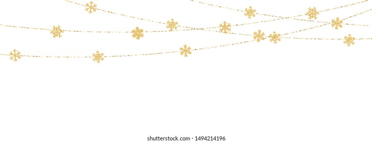 Christmas or New Year golden snowflake decoration garland on white background. Hanging glitter snowflake. Vector illustration.