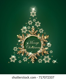 Christmas and New Year green background with Christmas tree made from gold snowflakes. Christmas and new year card. Vector template. EPS