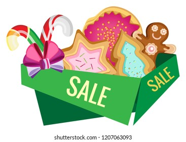 Christmas and New Year green banner on sale with cookies and caramel. Transparent background.