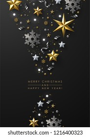 Christmas and New Year Greeting Card with Chic Festive Composition made of Gold and White Stars, Silver Snowflakes and Glitter.