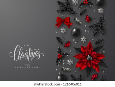 Christmas and New Year Greeting Card with Decorative Vertical Border made of Traditional Festive Elements. Flat lay, top view.