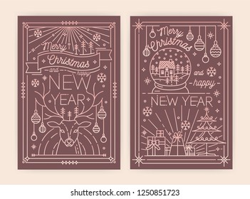 Christmas and New Year greeting card templates with traditional holiday decorations drawn with contour lines - deer, snowflakes, gifts, baubles, snow globe. Vector illustration in trendy linear style.