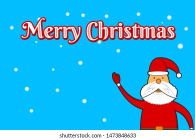 Christmas and New Year greeting card merry christmas with santa clause cartoon banner