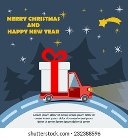 Christmas new year greeting card gift stock illustration 249178357 christmas and new year greeting card with gift delivery van goes on winter road in xmas m4hsunfo