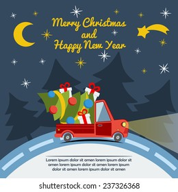 Christmas and New Year greeting card with delivery van carry a Christmas tree and gifts goes on winter road in Xmas eve. Template vector concept.