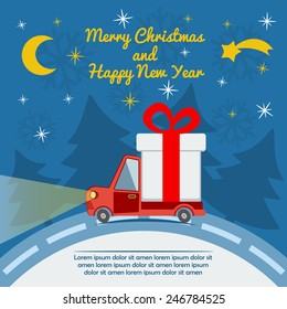 Christmas and New Year greeting card with gift delivery van goes on winter road in Xmas eve. Template vector concept.