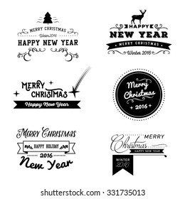 Christmas and New Year greeting card. Vector illustration. Typography, calligraphy. Snowy background. Vintage label, emblems and other decorative elements. Retro invitation.