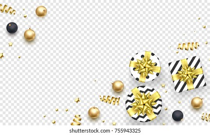 Christmas or New Year greeting card background template of golden ball decorations. Vector Christmas gifts with golden ribbon bow and gold glitter confetti on gift boxes ornament for winter holiday.