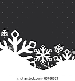Christmas and New Year greeting card with snowflakes. Vector illustration