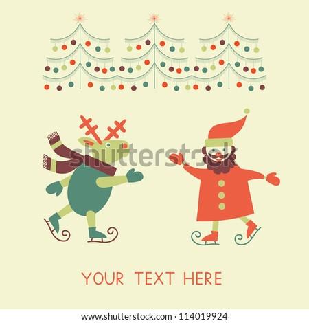 Christmas New Year Greeting Card Santa Stock Vector Royalty Free