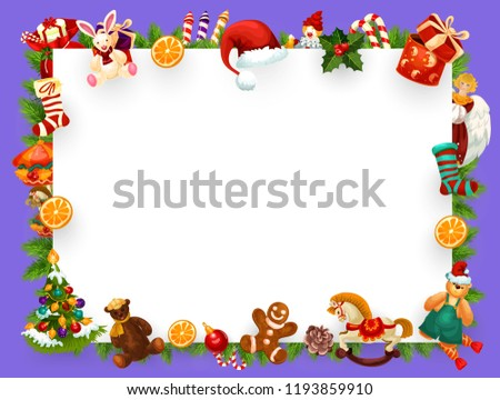 christmas or new year greeting card empty blank of xmas decorations frame vector winter holiday