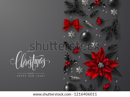 christmas and new year greeting card with decorative vertical border made of traditional festive elements