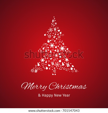 christmas and new year greeting card red background vector illustration with well organized layers