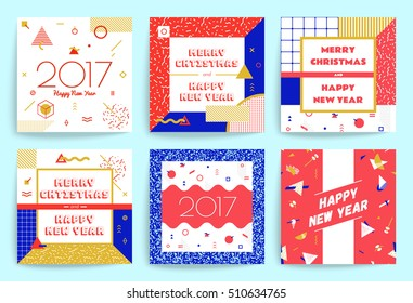 Christmas and New Year greeting cards. Multicolored geometric figures background in modern hipster style.