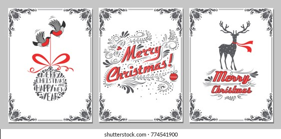 Christmas and new year greeting cards collection. Holidays winter set with decoration elements, typographic design, christmas ball, bullfinch, deer