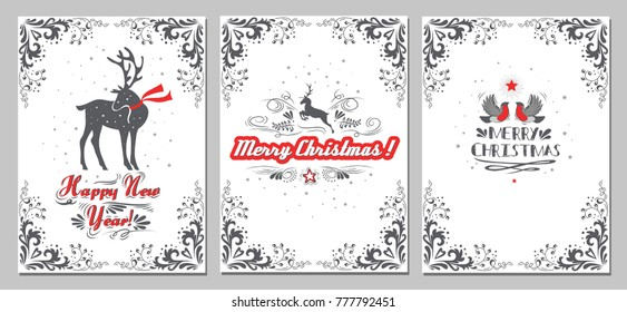 Christmas New Year Greeting Cards Collection Stock Vector (Royalty ...