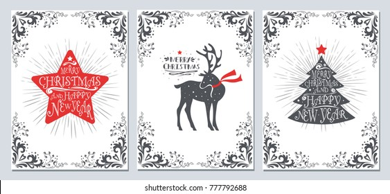 Christmas and new year greeting cards collection. Holidays winter set with decoration elements, typographic design, christmas star, tree, deer and text
