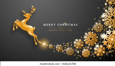 Christmas and New Year greeting luxury design with golden statuette of jumping deer and whirlwind of gorgeous golden snowflakes on black background. Vector illustration.