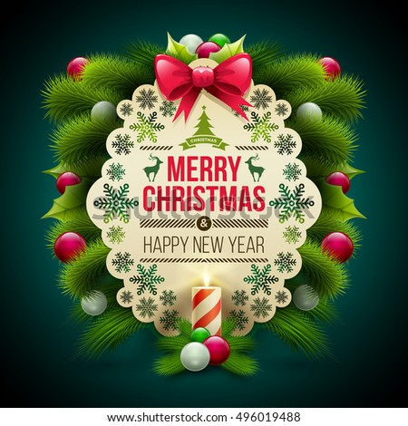 christmas and new year greeting message card with ornaments vector christmas design template