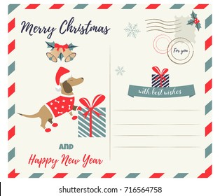 Christmas or New Year greeting postcard with holiday dachshund