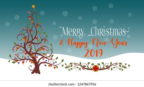 Christmas And New Year Greeting With Christmas Tree Flourish And Snowflakes Background