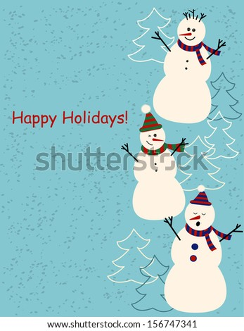christmas and new year greetings card with tree cute cartoon snowmen