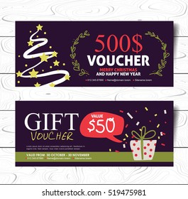 Christmas and New Year hand drawn style gift voucher vector template. Vector illustration