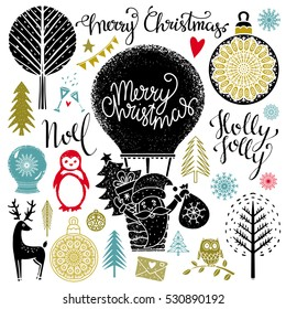 Christmas and New year hand drawn, scrapbooking design elements, icons set isolated on white background. Handwritten font