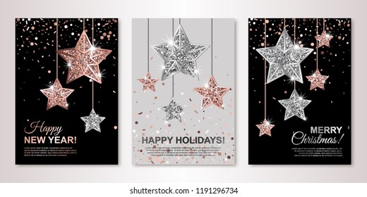 Christmas, New Year and Happy Holidays banners set with hanging rose gold and silver stars. Winter holiday invitations with geometric decorations and falling confetti. All isolated and layered
