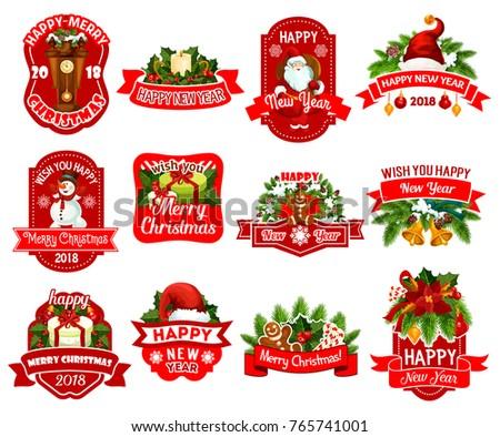 christmas and new year holiday gift label set xmas tree santa and snowman