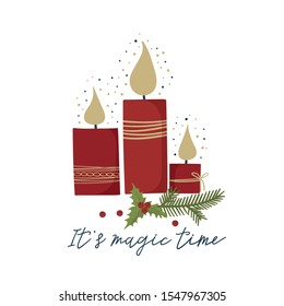 Christmas and New Year holiday greeting card with candle and handwritten calligraphy. Vector illustration in trendy style