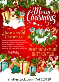 christmas and new year holiday greeting banner of santa gift xmas tree and holly garland
