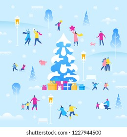 Christmas or  New Year holiday outdoor fair. Pleasant small characters of family, couple, and friends enjoying Christmas party. Colorful vector illustration in flat cartoon style.