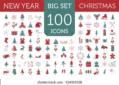 Christmas, New Year holidays icon big set. Red and green xmas decoration with angel, snowman, deer. Flat style collection. Vector illustration