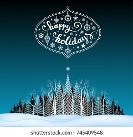 Christmas and New Year  holidays Typographical on Xmas background with winter landscape. Merry Christmas card.