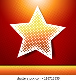 Christmas and New year holidays vector card with star.