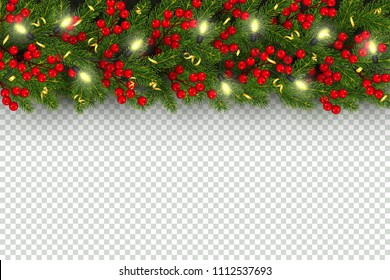 Christmas and New Year horizontal border Realistic branches of Christmas tree, garland with glowing lightbulbs, holly berries, serpentine Element for festive design isolated on transparent background