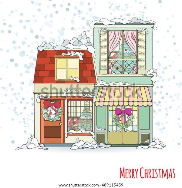 Christmas New Year House Invitation Card Stock Vector