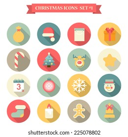 Christmas New Year icon set flat style seasonal objects gingerbread man gift bag Santa hat fir tree candy elk candle snowman. Collection of holiday icons web element infographics print template.