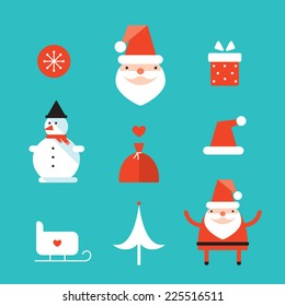 Christmas and New Year icon set. Santa Claus, gift,present. Vector illustration